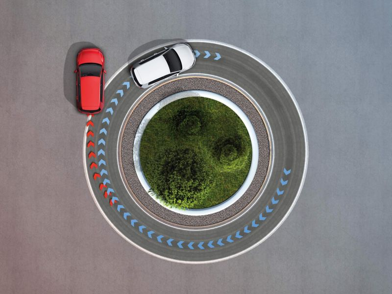 Ariel shot of two Volkswagen Golf GTI's showing the optional front differential lock and progressive steering