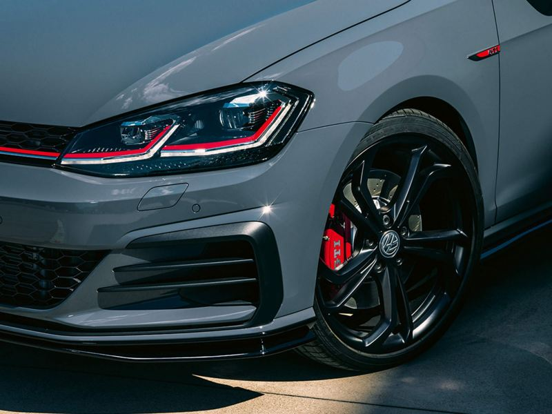 close up front view of Golf GTI headlights