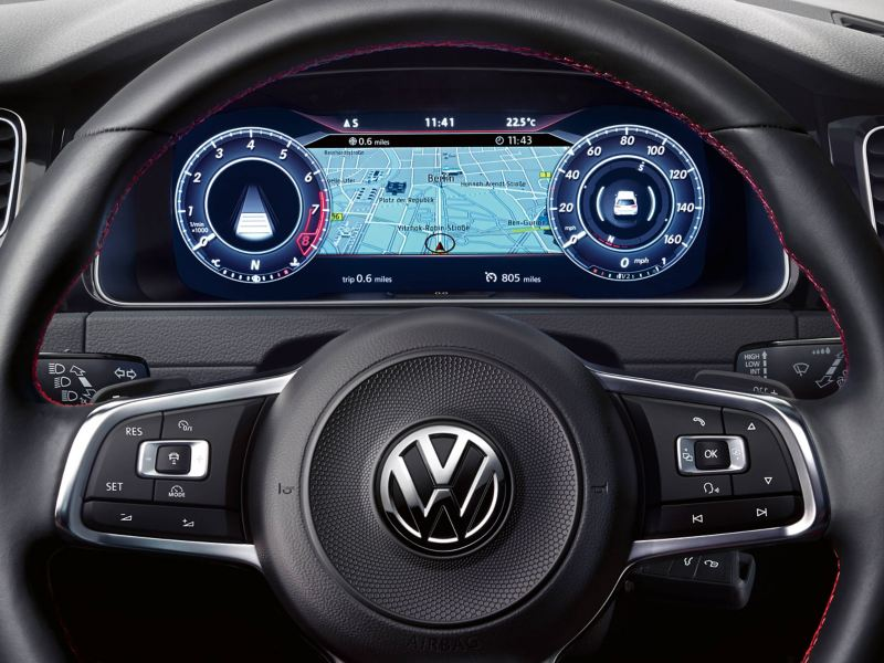 close up view of Golf GTI steering wheel and dashboard