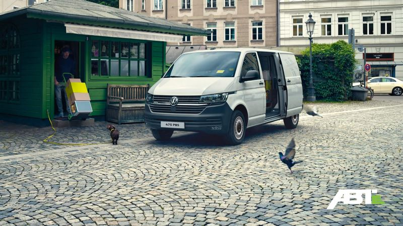 ABT e-Transporter 6.1 on a cobbled road