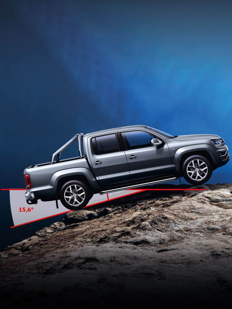 VW Amarok van climbing steep rocky off-road