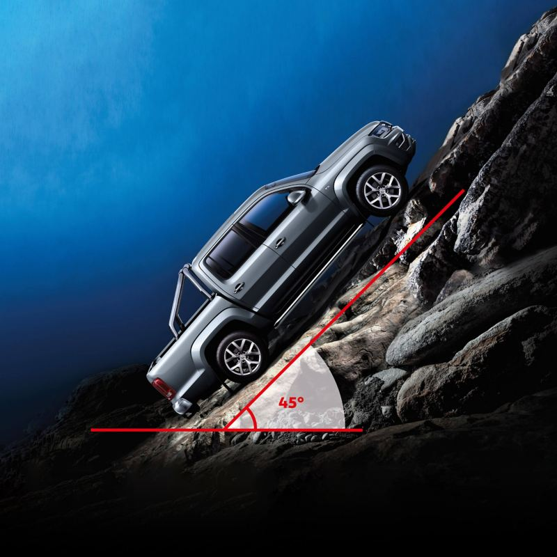 VW Amarok climbing very steep rocky off-road incline