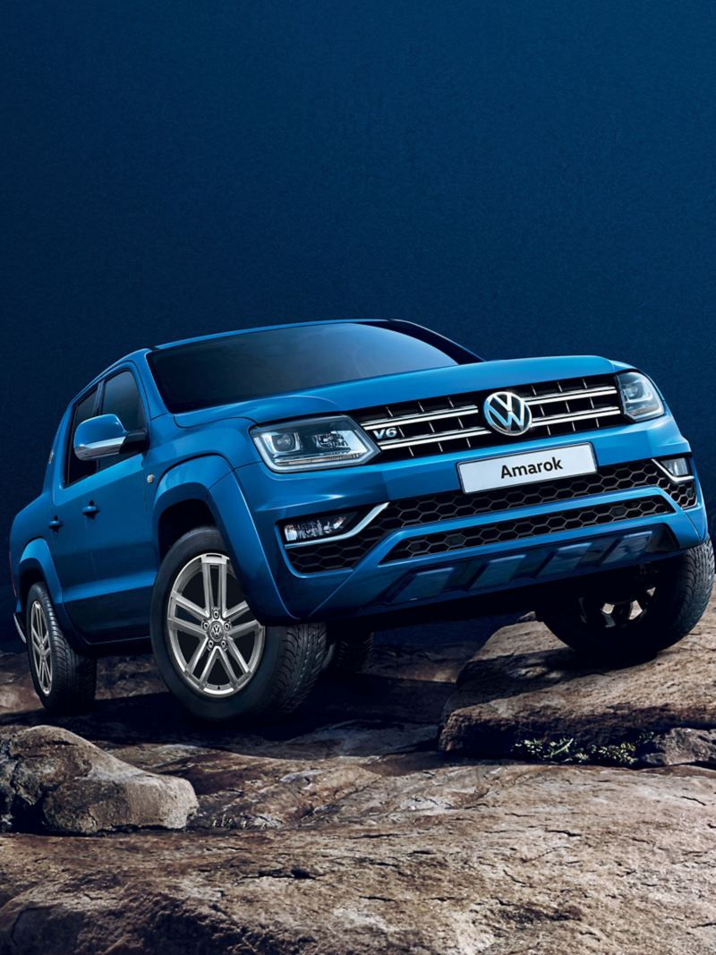 Blue VW Amarok off-road stationary