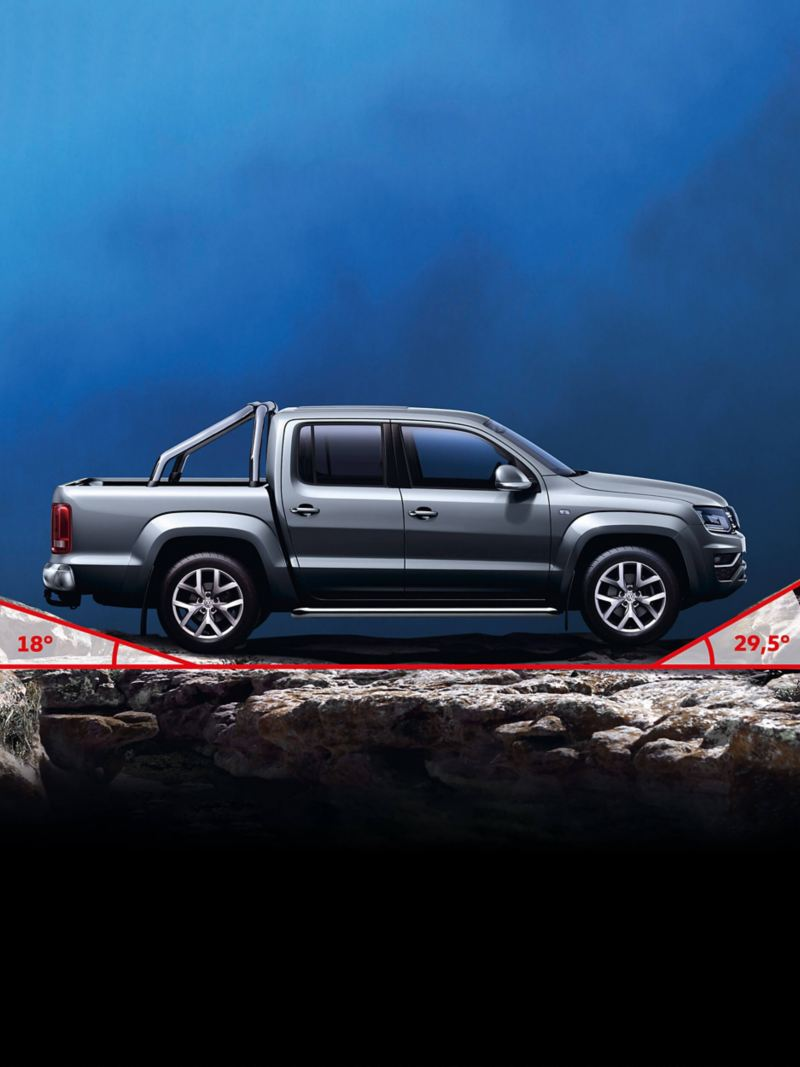 VW Amarok van off-road with 18° and 29.5° angles highlighted