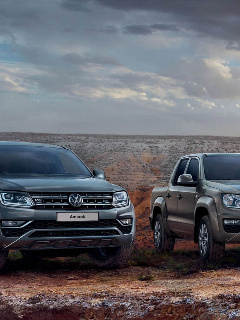 Two stationary Amarok pick-ups off-road