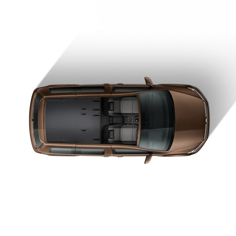 Top down view of Caddy Life flexible interior with 2 seats