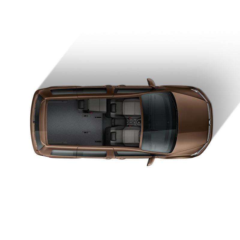 Top down view of Caddy Life flexible interior with 3 seats