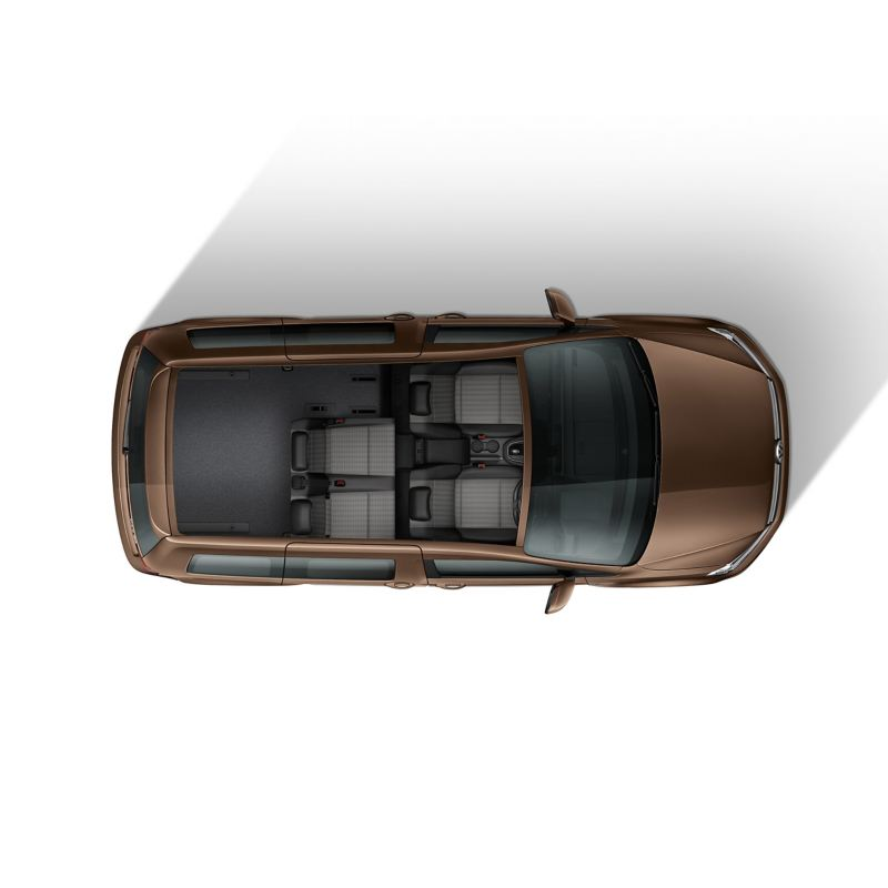 Top down view of Caddy Life flexible interior with 4 seats
