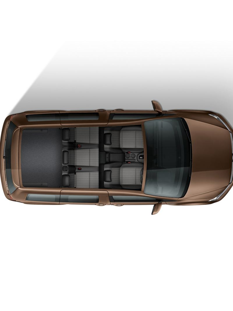 Top down view of Caddy Life flexible interior with 5 seats