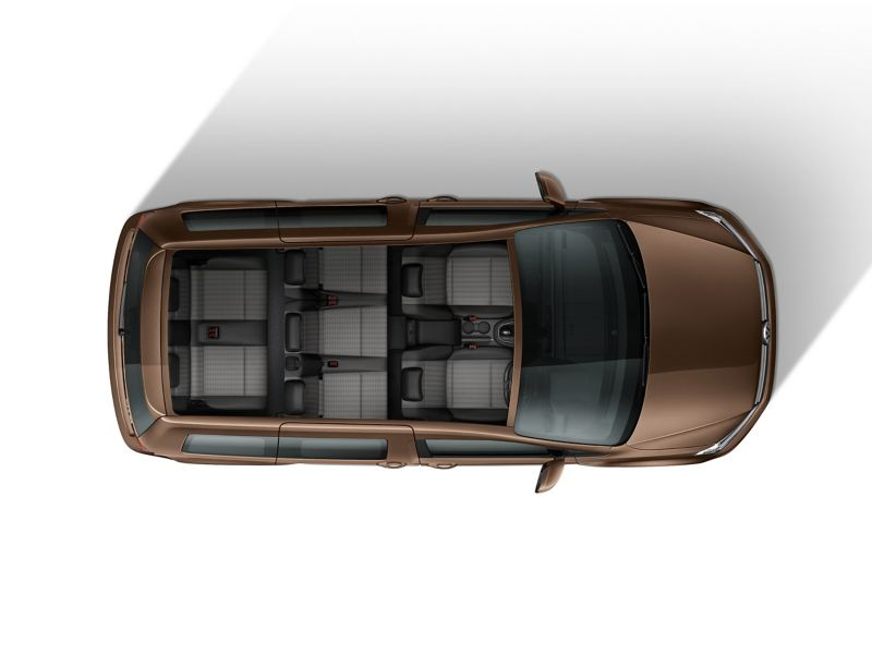 Top down view of Caddy Life flexible interior with 7 seats