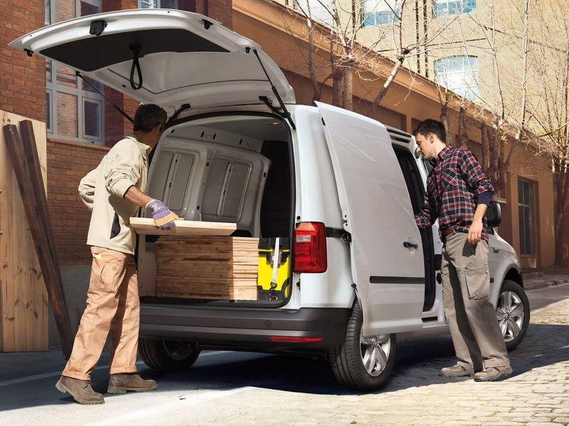 Caddy panel van being loaded