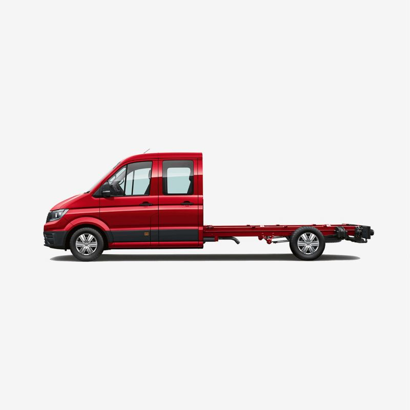 Side view of Crafter chassis cab long wheelbase with double cab