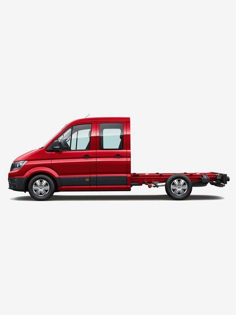 Side view of Crafter chassis cab medium wheelbase with double cab
