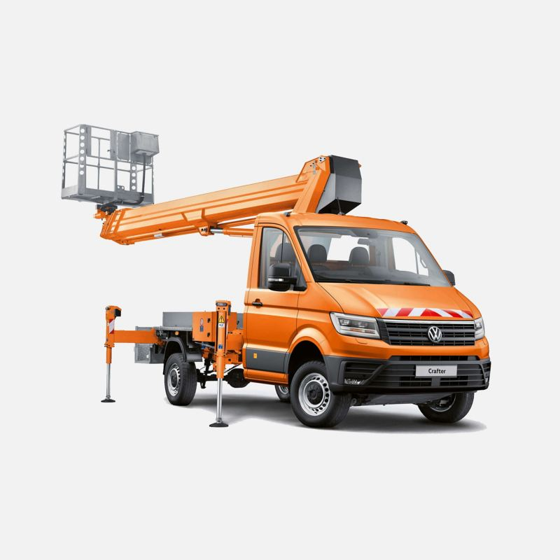 Crafter chassis converted into a cherry picker crane