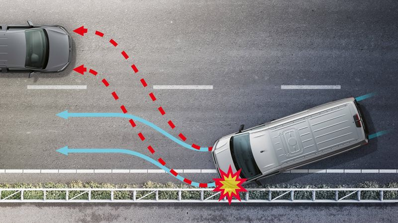 Illustration of the New Crafter with the automatic post-collision braking system