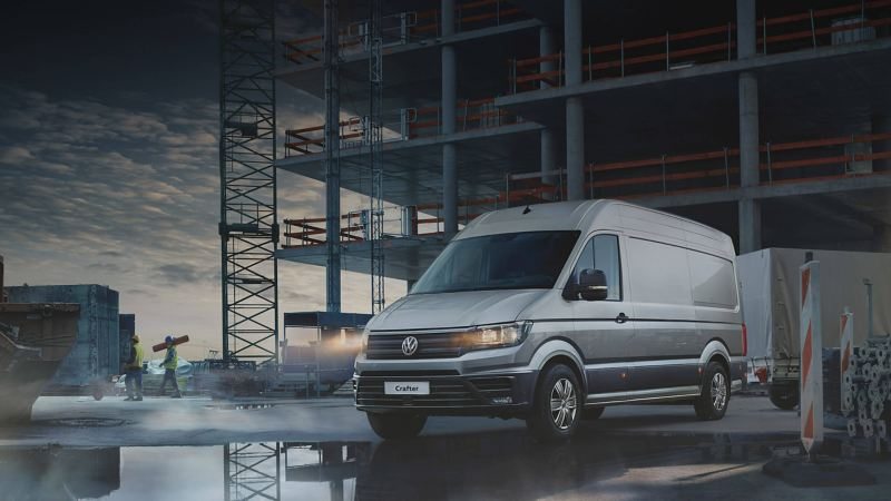 VW Crafter van at work site