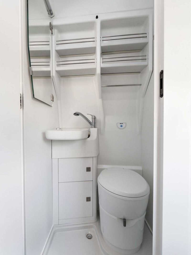 Space-saving separate bathroom in VW Grand California