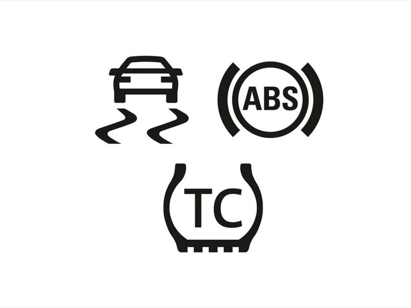 ABS, ESP & traction control safety feature icons