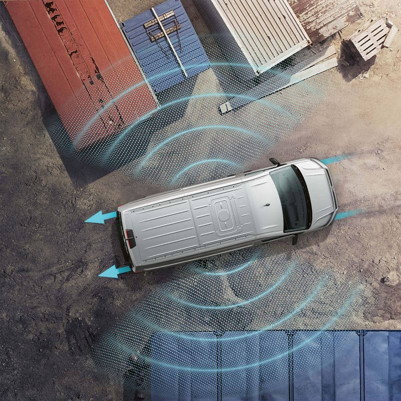 Top-down graphic showing side assistance sensors