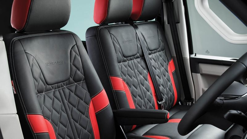 Red and black quilted leather seats