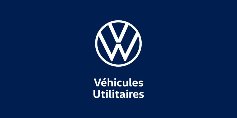 logo blanc fond bleu Volkswagen Véhicules Utilitaires