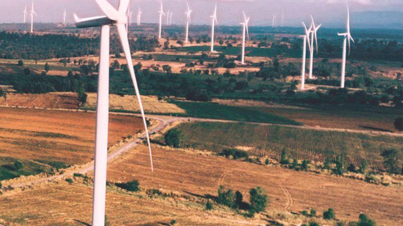 A wind turbine field