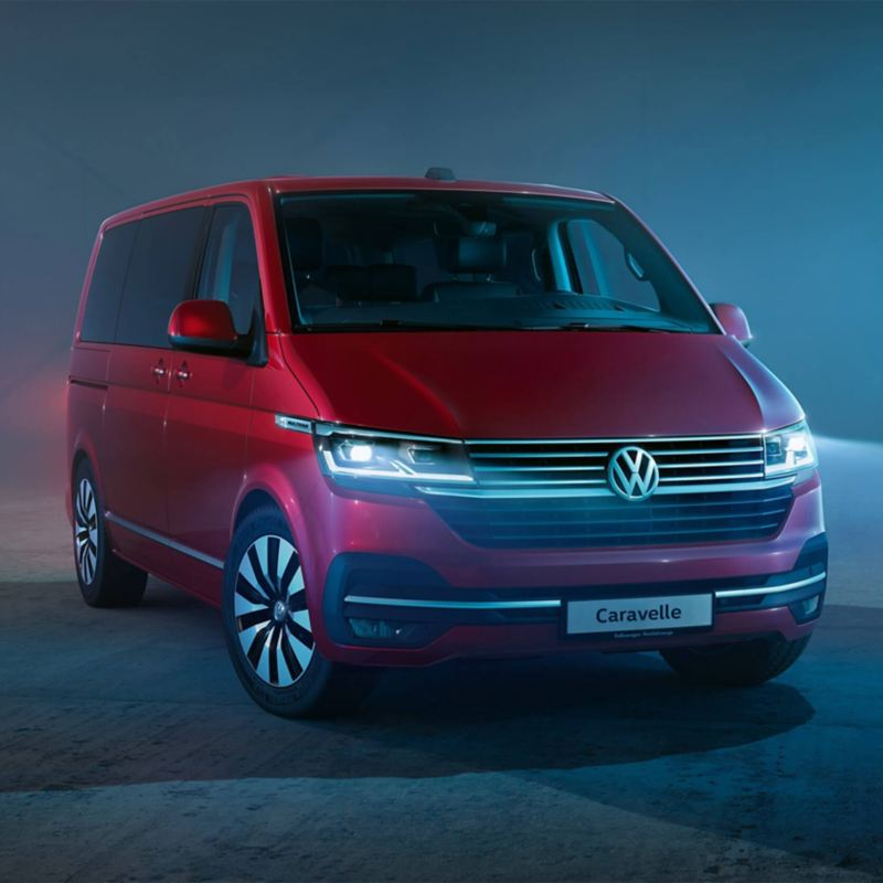 VW Caravelle 6.1 in studio with blue haze