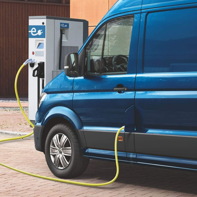 vw van plugged in to a charge point