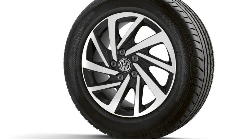 Ein Reifen mit einer aufgezogenen Felge.
