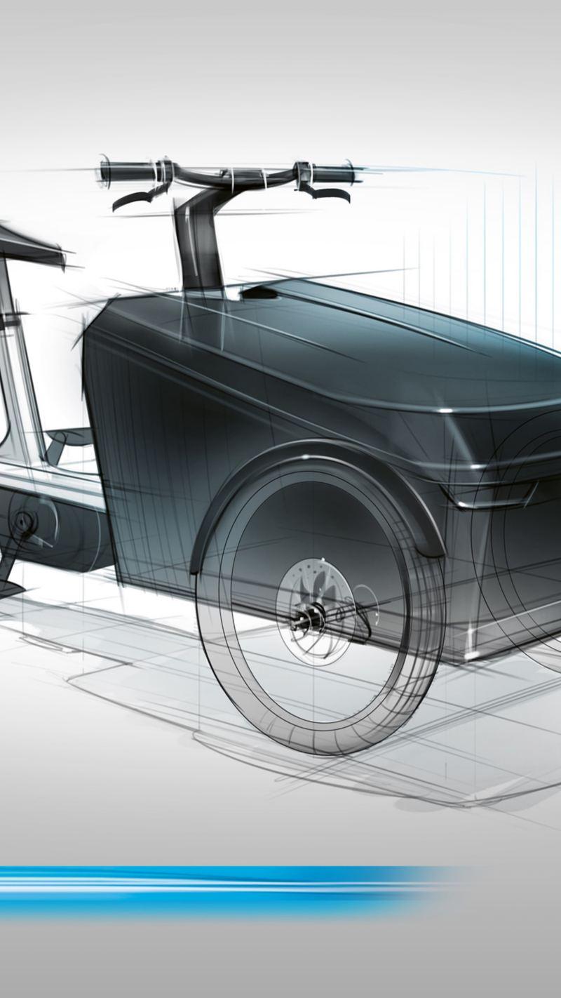 Eine Konzeptzeichnung des Cargo e-Bike von Volkswagen Nutzfahrzeuge.