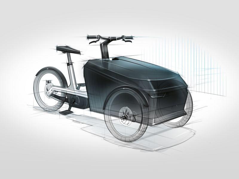 Un dessin conceptuel du Cargo e-Bike de Volkswagen Commercial Vehicles.