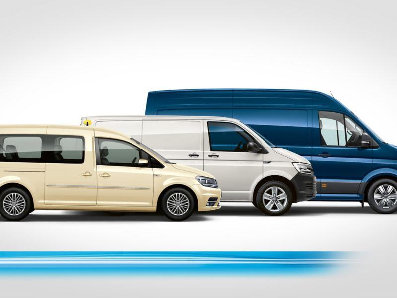 Ein ABTe-Caddy, ein ABTe-Transporter und ein e-Crafter stehen voreinander versetzt.