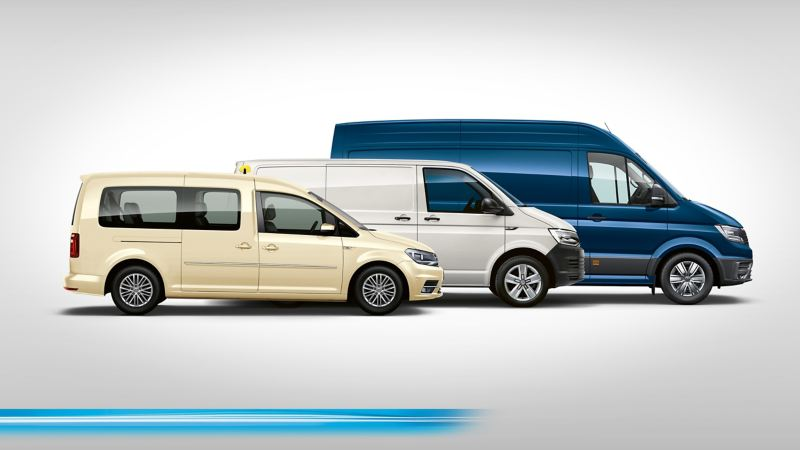 L'ABT e-Caddy, l'ABT e-Transporter et l'e-Crafter côte à côte en profil.
