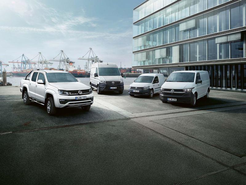 Caddy, Transporter, Crafter und Amarok von Volkswagen Nutzfahrzeuge.