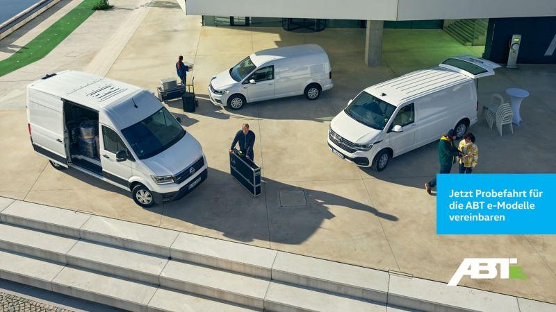 Die Elektromodelle VW e-Crafter, ABT e-Caddy und ABT e-Transporter im Einsatz.