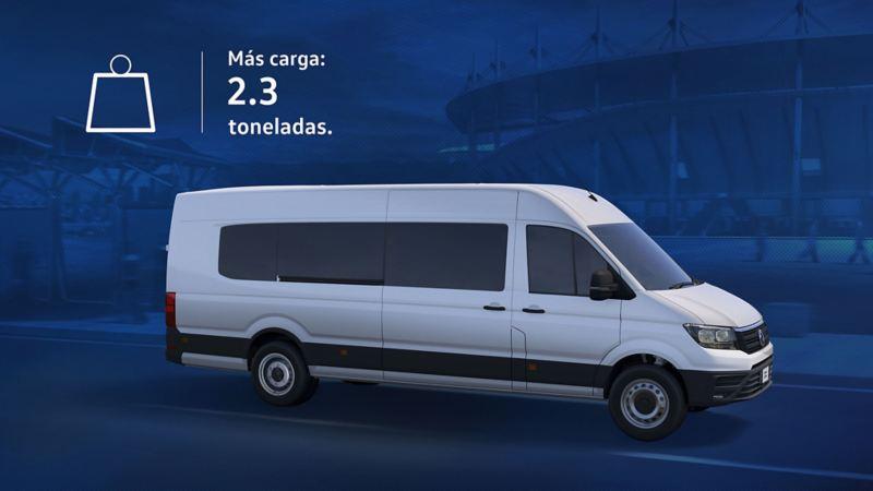 Capacidad de carga hasta 2.3 toneladas Nuevo Crafter 4.9t.