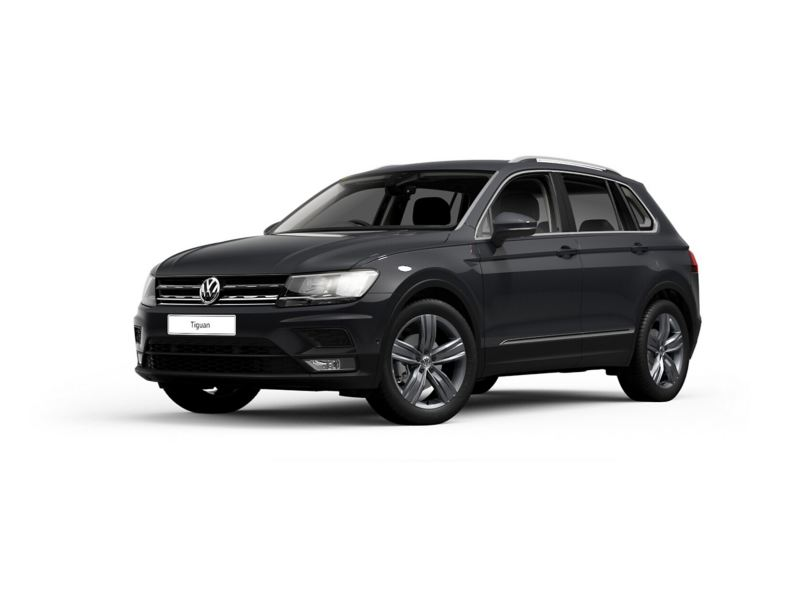 3/4 front view of a black Volkswagen Tiguan.