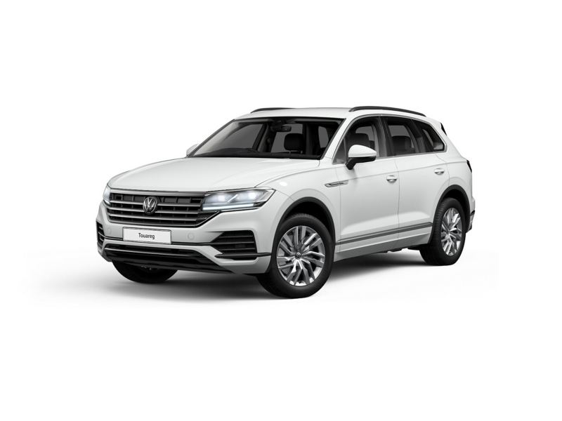 3/4 front view of a white Volkswagen Touareg.