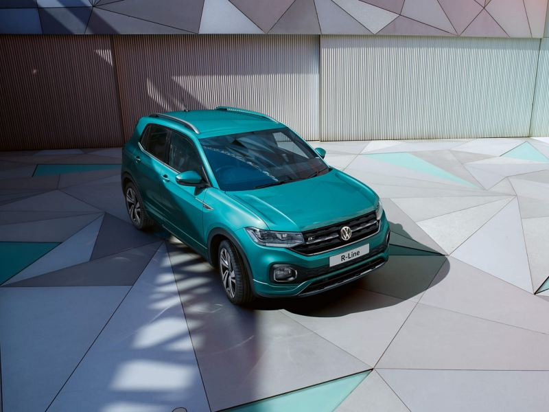 Front shot of a green Volkswagon R-Line