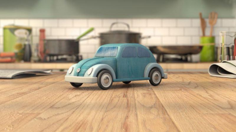 Mini blue car on a table