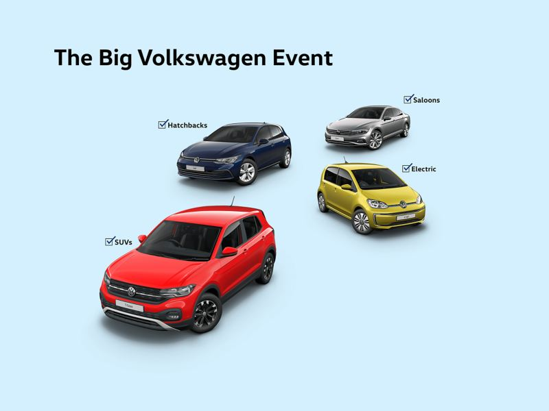 Volkswagen T-Cross, e-up!, Golf and Passat Saloon