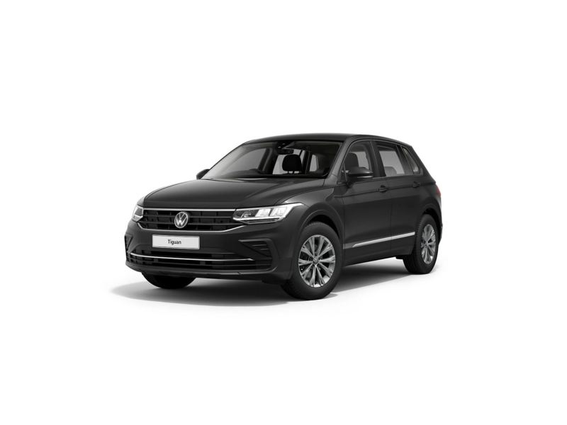 3/4 front view of a black Volkswagen new Tiguan.