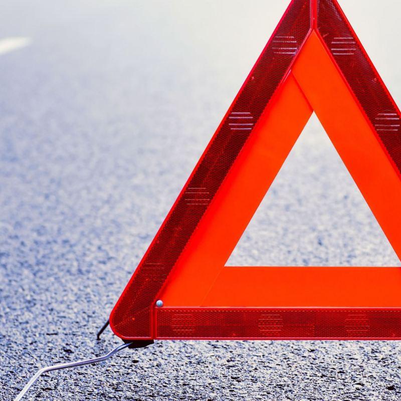 Varningstriangel på asfaltsväg