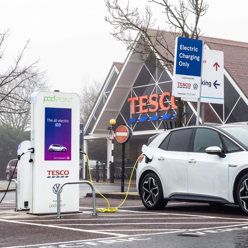 ID.3 charging from a Pod Point in Tesco car park