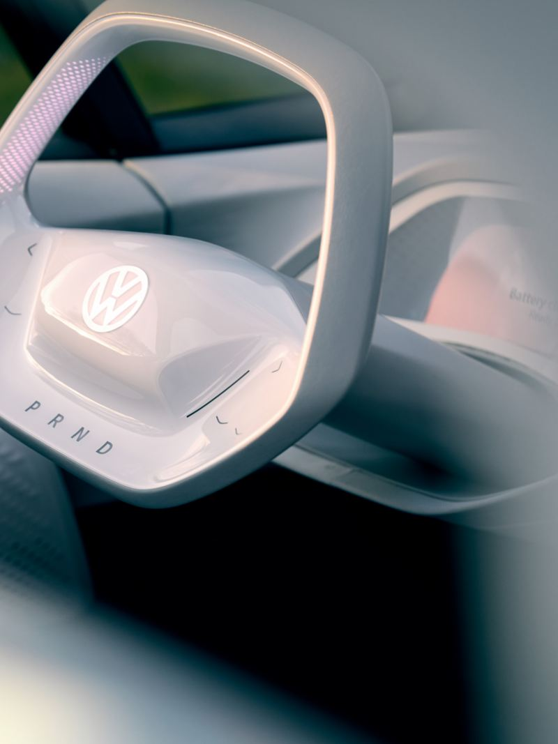 The ID. concept car's steering wheel.