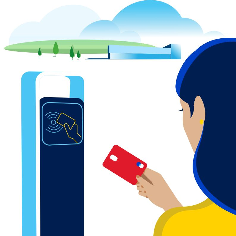 Colonne de recharge à laquelle il est possible de payer avec une carte