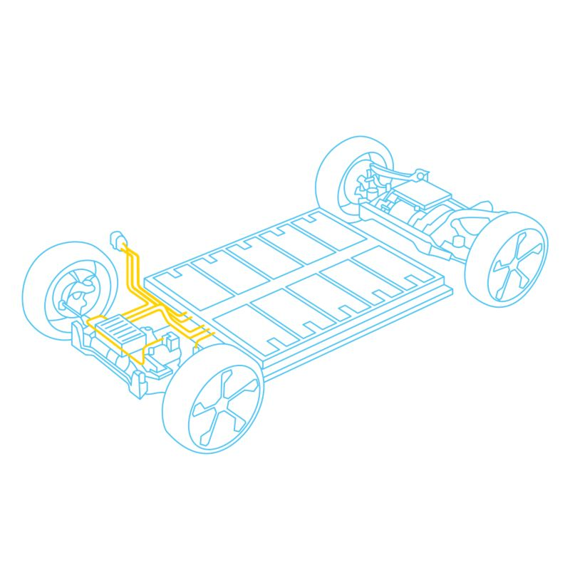 Illustration of the chassis of a Volkswagen electric vehicle.