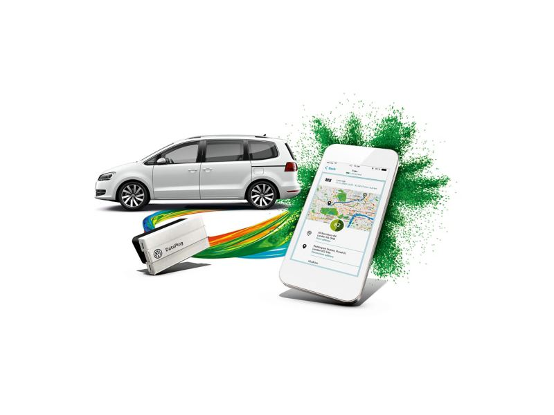 Volkswagen car, DataPlay device and SmartPhone