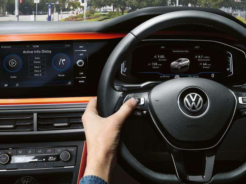 Close up of Volkswagen steering wheel