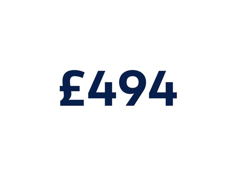 £494 on white background